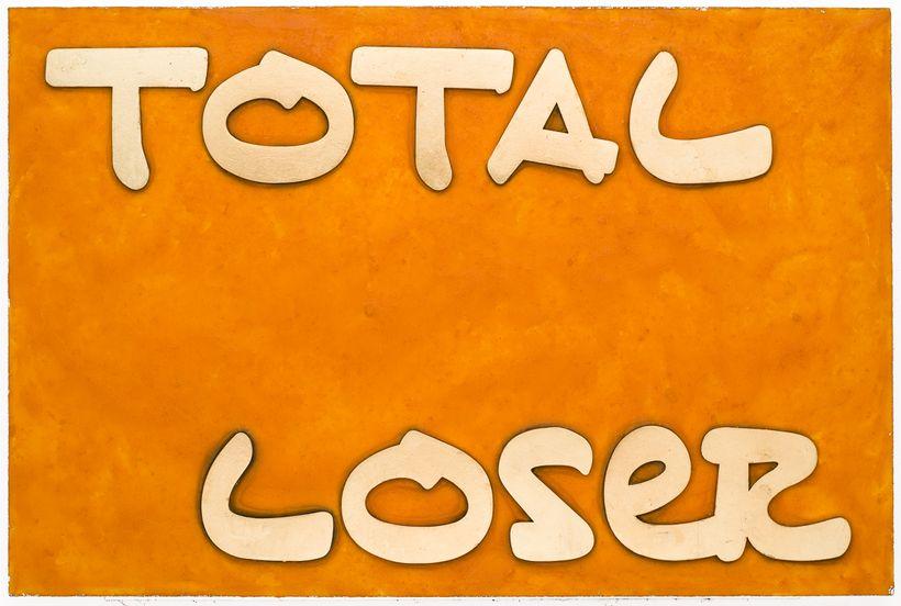 "<em>Total Loser</em>, 2017, Cheetos, fake gold, acrylic on board, 20""x30"""