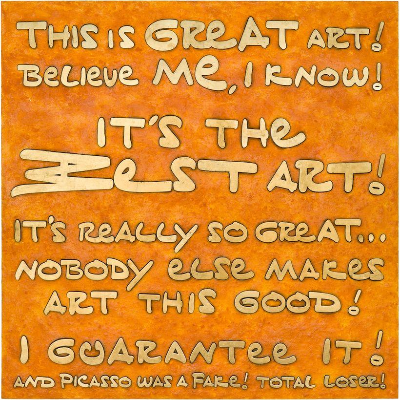 "<em>The Best Art! I Guarantee It!</em>, 2017, mixed media: Cheetos, fake gold, acrylic on board, 59""""x59"""