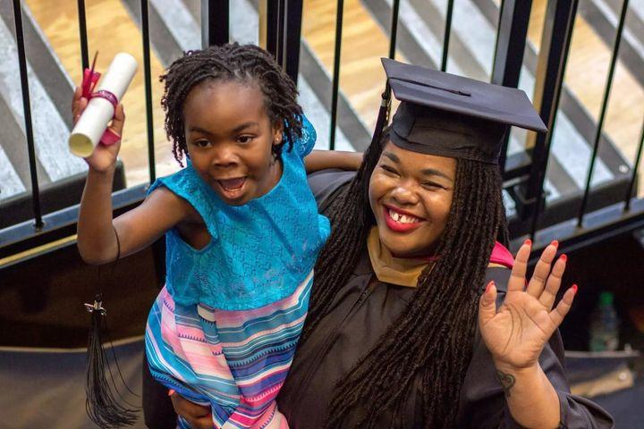 Divinity Matovu with her daughter, Nyah, graduating from Wharton Business School.