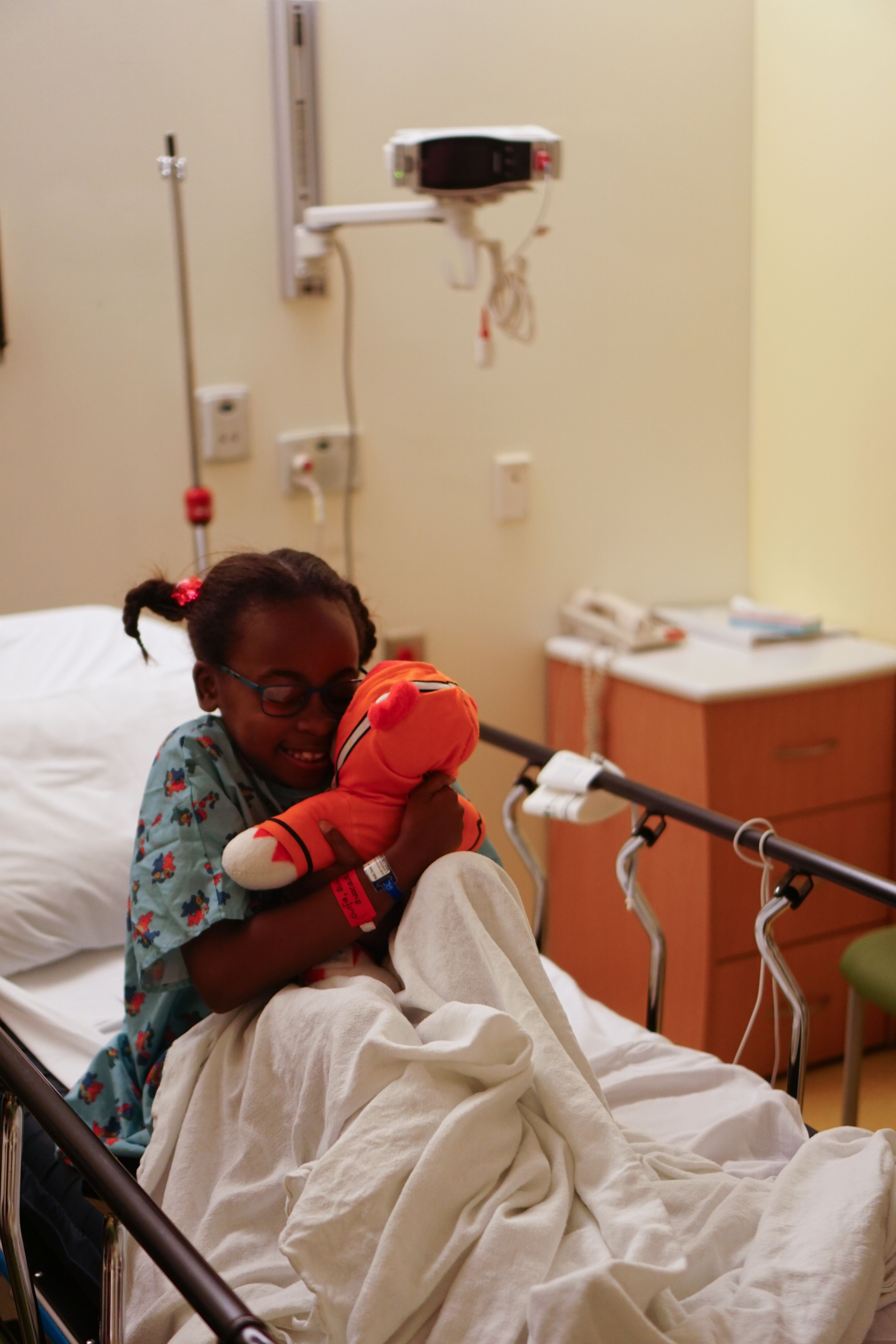 """""""Sumaya and her stuffed animal, Zack, make the perfect team. When Sumaya needed an endoscopy, Zack was by her side to bring h"""