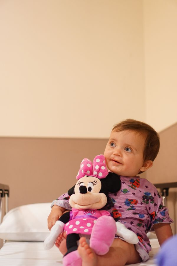 """""""She might be mini, but Minnie Mouse was a huge part of Jordan's life as she prepared for cleft palate repair surgery."""""""