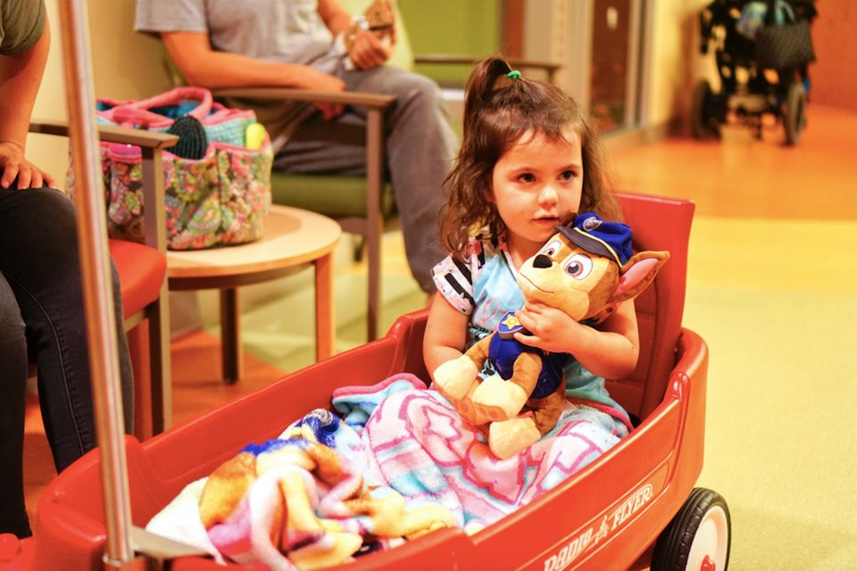 """When 3-year-old Alsea had her adenoids and tonsils removed, her favorite Paw Patrol police pup, Chase, was on the case."""