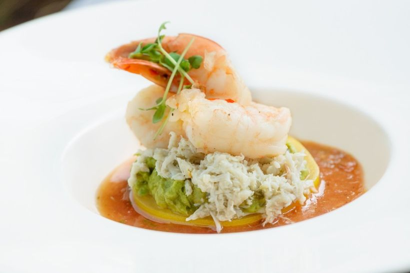 This is our new favorite foodie trio. The crab and shrimp cocktail uses a spiced heirloom tomato as a base to hold fresh avoc