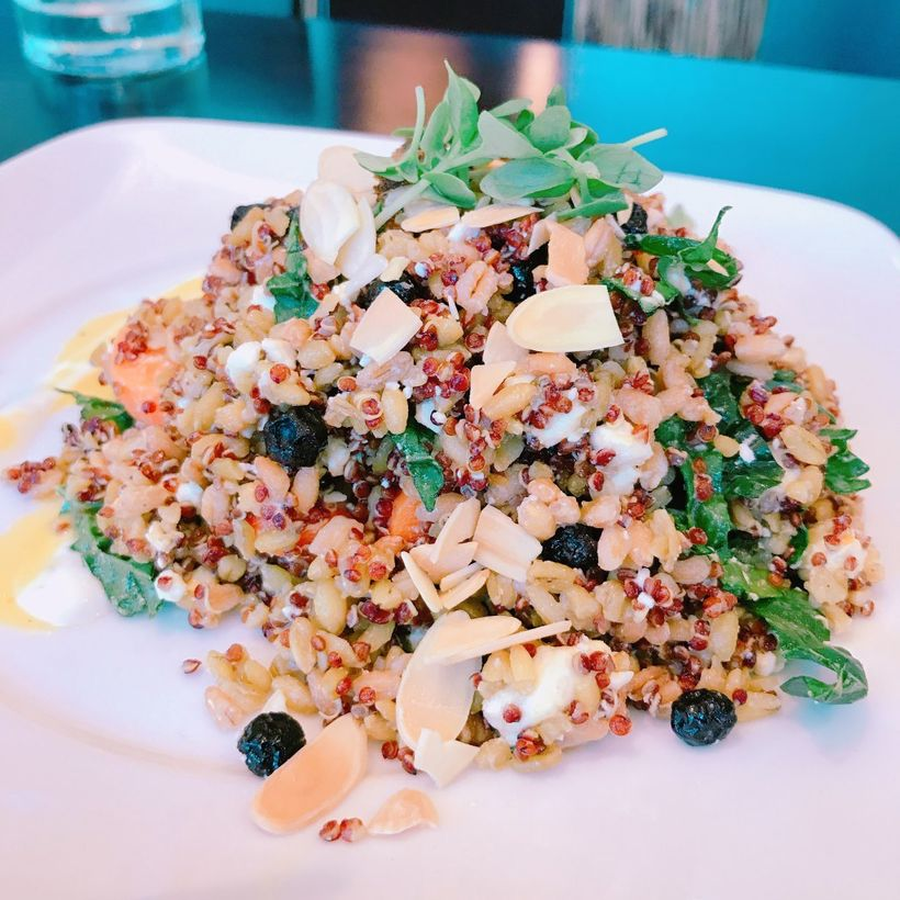 This salad was so good we had to recreate it at home. The Super Grain salad is a blend of high protein grains like quinoa and
