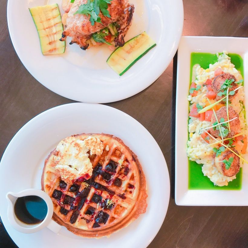 These are just a few of the main courses we got a chance to try. The Blueberry Waffle, Cornmeal Crusted Summer Scallops, and