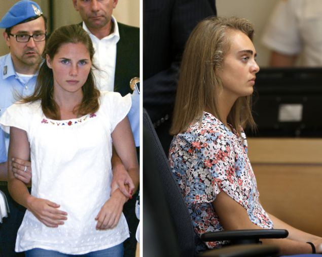 Left: Amanda Knox, an American exchange student in Italy, arrives in court for her appeal trial in 2011. Knox was eventually acquitted in the murder of her roommate. Right: Michelle Carter on trial in June 2017, charged with involuntary manslaughter after encouraging her boyfriend to kill himself.