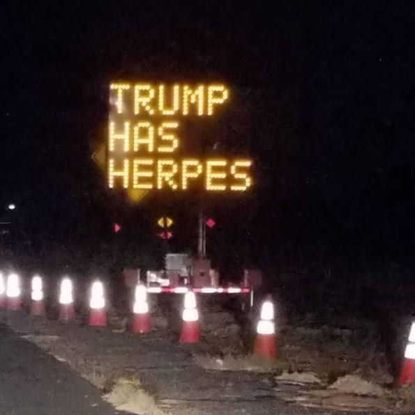 Highway Sign Hacked To Show Crude Message About Donald