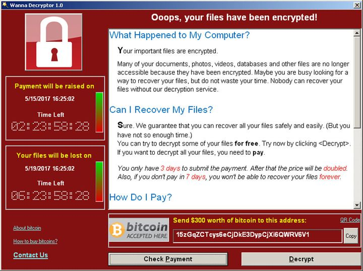 A screenshot shows a WannaCry ransomware demand