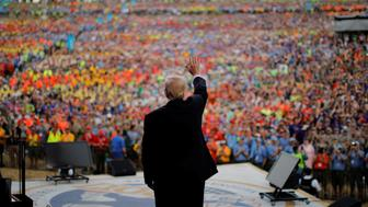 U.S. President Donald Trump waves after delivering remarks at the 2017 National Scout Jamboree in Summit Bechtel National Scout Reserve, West Virginia, U.S., July 24, 2017. REUTERS/Carlos Barria      TPX IMAGES OF THE DAY