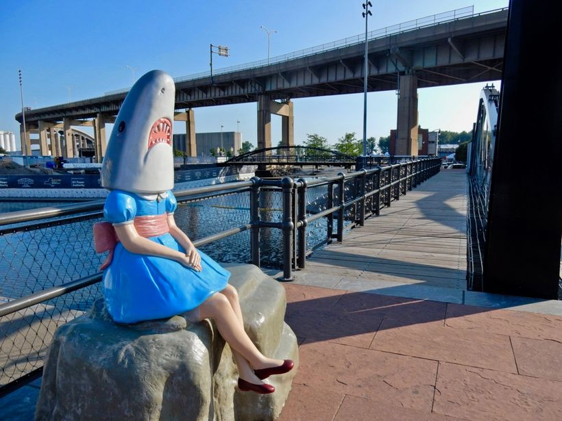 Shark Girl at Canalside,  Buffalo NY