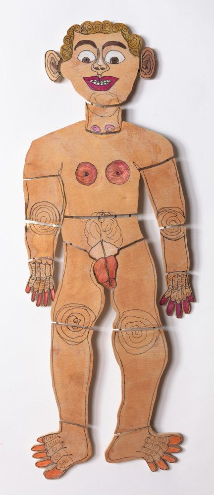 Camille Holvoet,ink and marker on wood, 47 by 15 by one inches