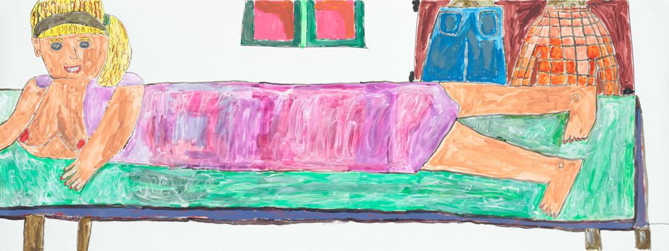Andrew Bixler, marker and acrylic on paper, 29.5 by 80 inches<i></i>