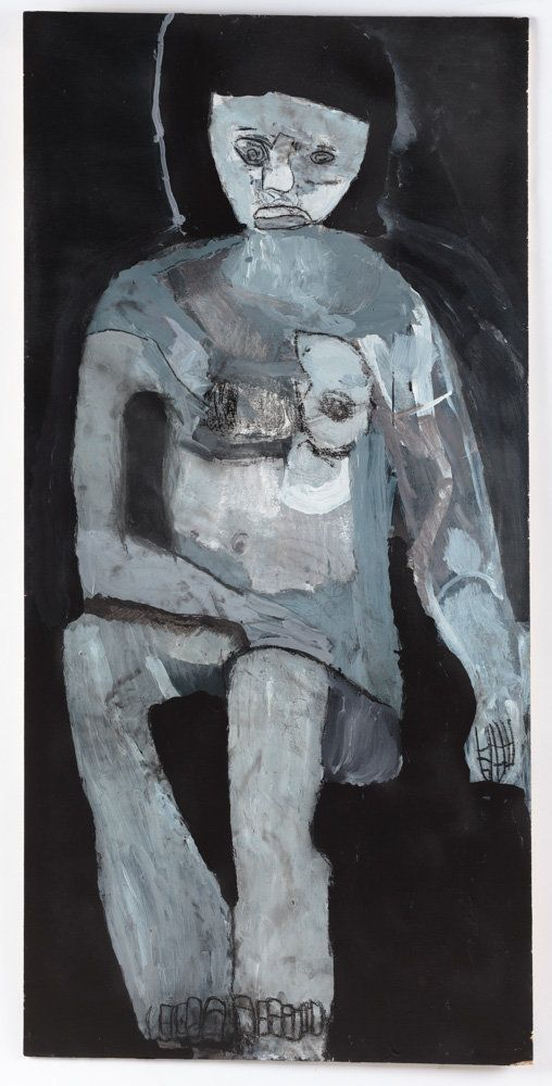 Thomas Pringle,&nbsp;acrylic and charcoal on wood, 48 by 23.5 inches<i></i>