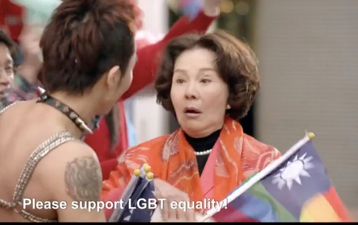 Ma (Grace Gruel) accidentally walks into the middle of a gay pride march in Taiwan.