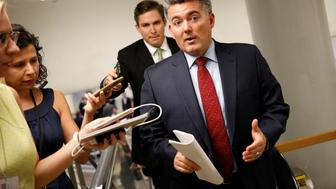Senator Cory Gardner (R-CO) speaks with reporters ahead of a vote on Capitol Hill in Washington, U.S., August 2, 2017. REUTERS/Aaron P. Bernstein