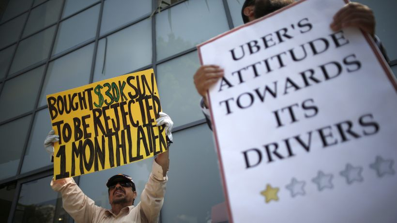 Uber drivers protesting against how they have been treated.
