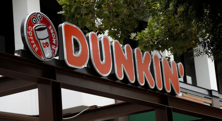 The sign of a Dunkin' store, the first since a rebranding by the Dunkin' Donuts chain, is pictured ahead of its opening in Pasadena, California, on Aug.2, 2017.