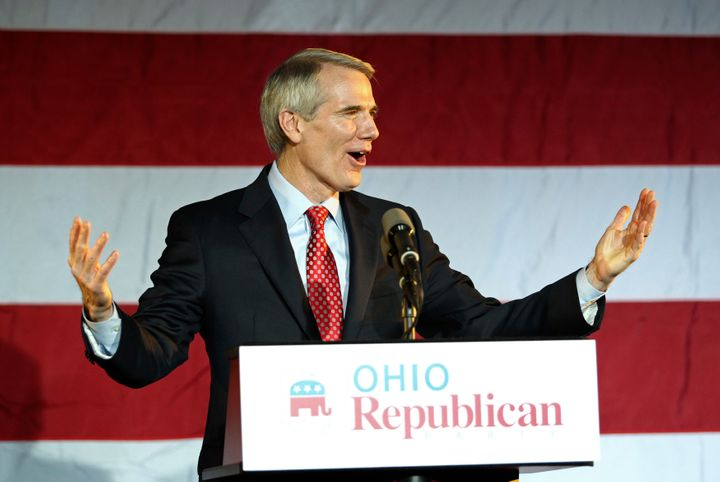 Ohio Sen. Rob Portman speaks to the crowd at an election rally in Columbus.