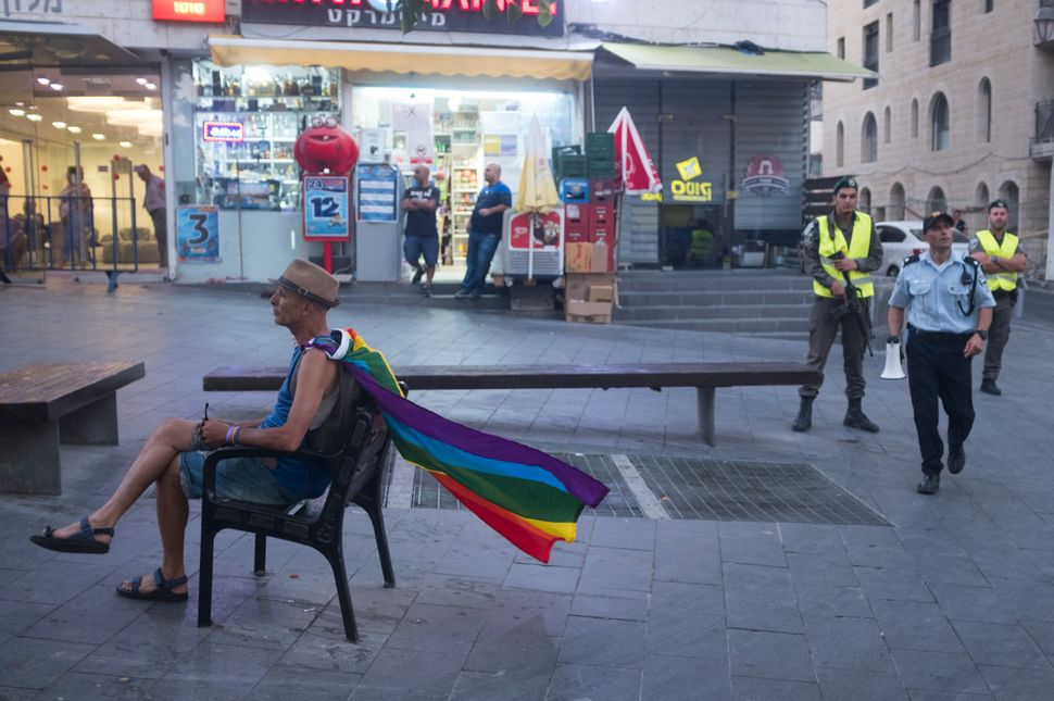 Israeli police officers stand guard during the annual Gay Pride parade on August 3, 2017 in Jerusalem.