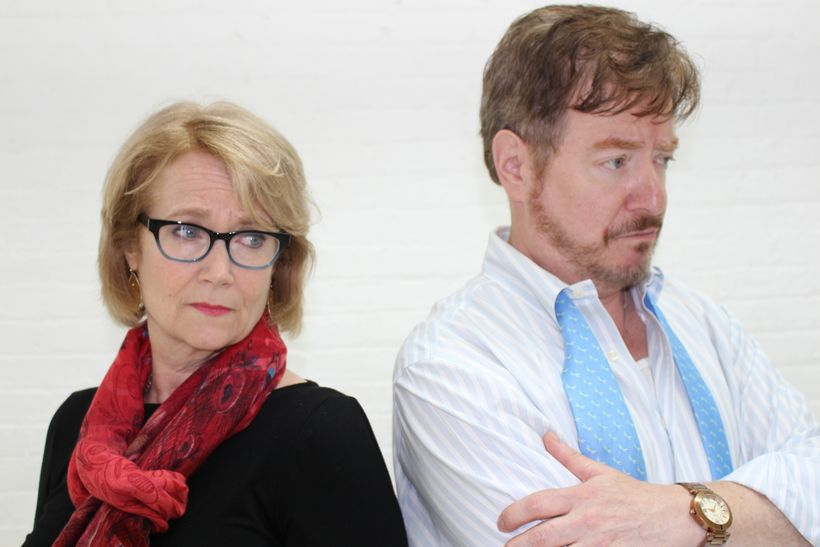 "<strong>Geraldine Leer </strong>as Linda (L),  <strong>Mark Coffin</strong> as Johnathan (R) are not looking eye to eye in ""<"