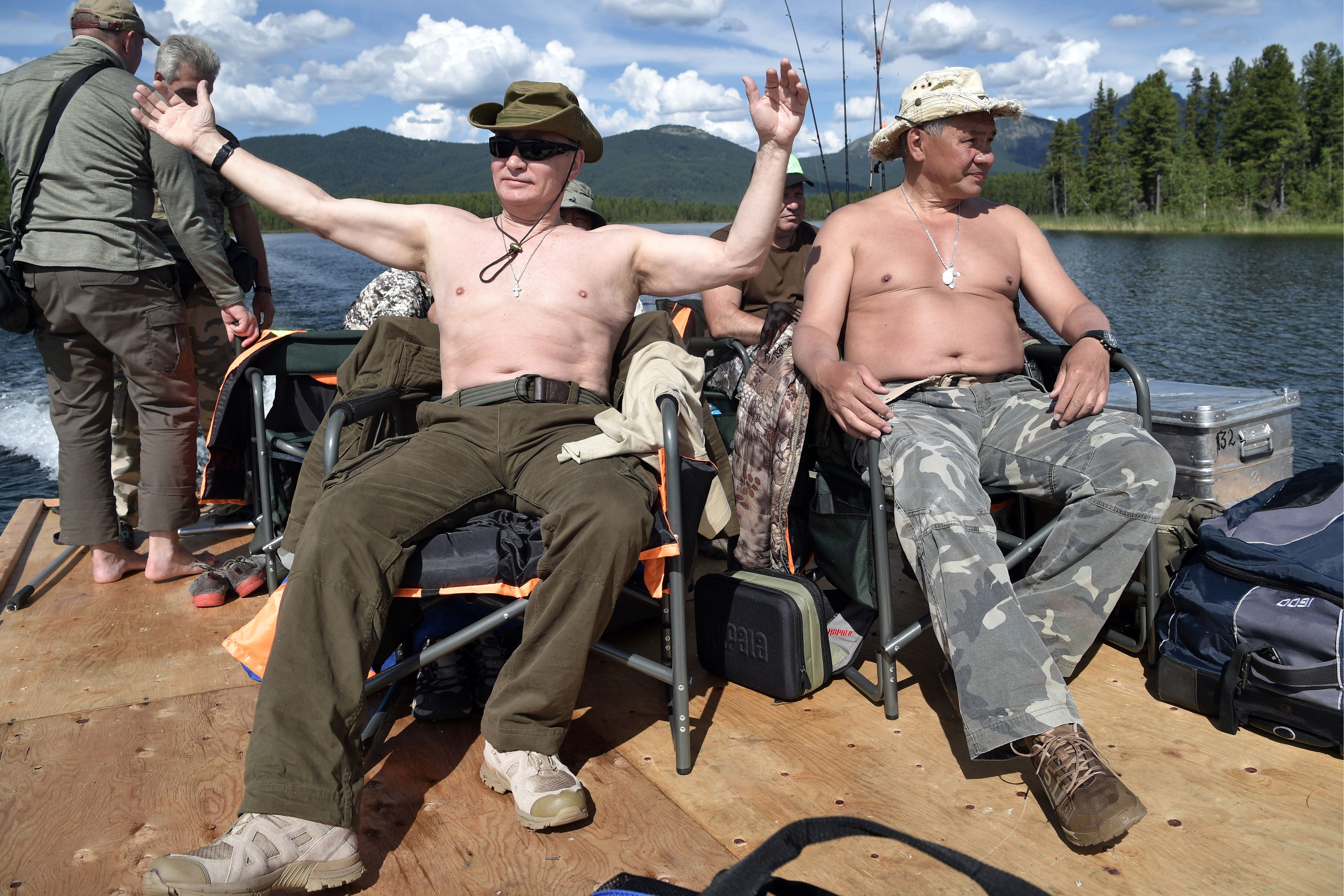 This picture of Russian President Vladimir Putin sat alongside Defense Minister Sergei Shoigu during his vacation in sou