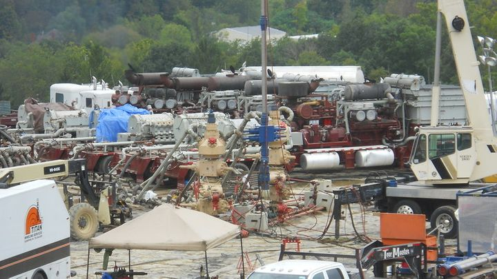 Hydraulic fracturing operations (here, in western Pennsylvania) inject mixtures of pressurized water, chemicals and sand mixt