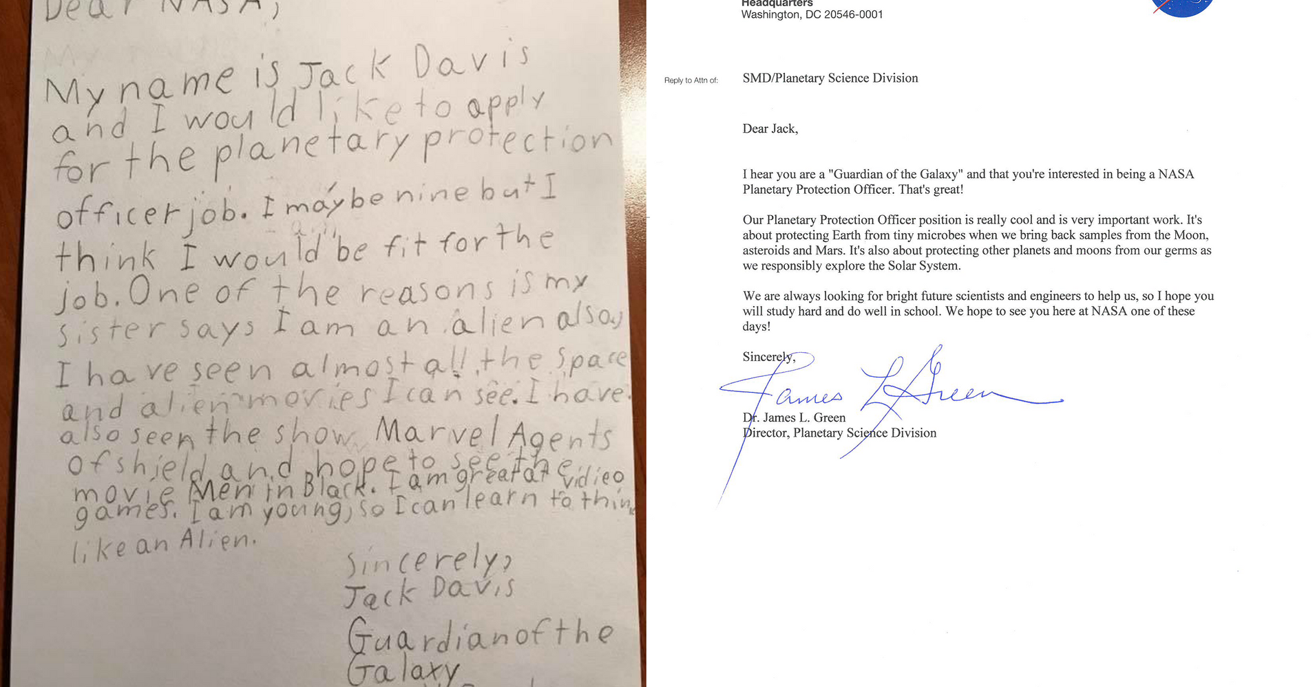NASA Responds To 9-Year-Old Who Applied To Be A Guardian Of The Galaxy