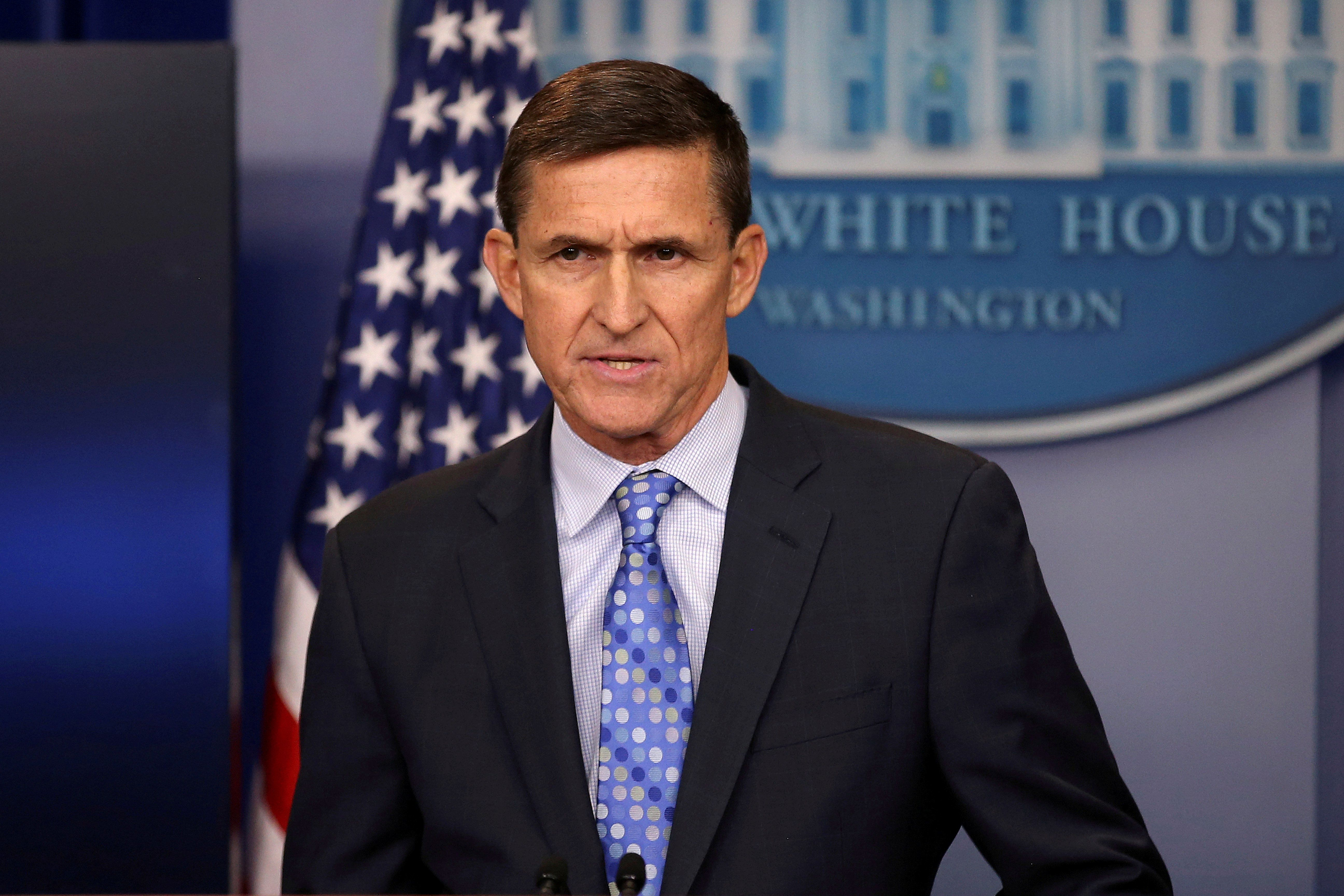 Then national security adviser General Michael Flynn delivers a statement daily briefing at the White House in Washington, U.S., February 1, 2017. Picture taken February 1, 2017. REUTERS/Carlos Barria