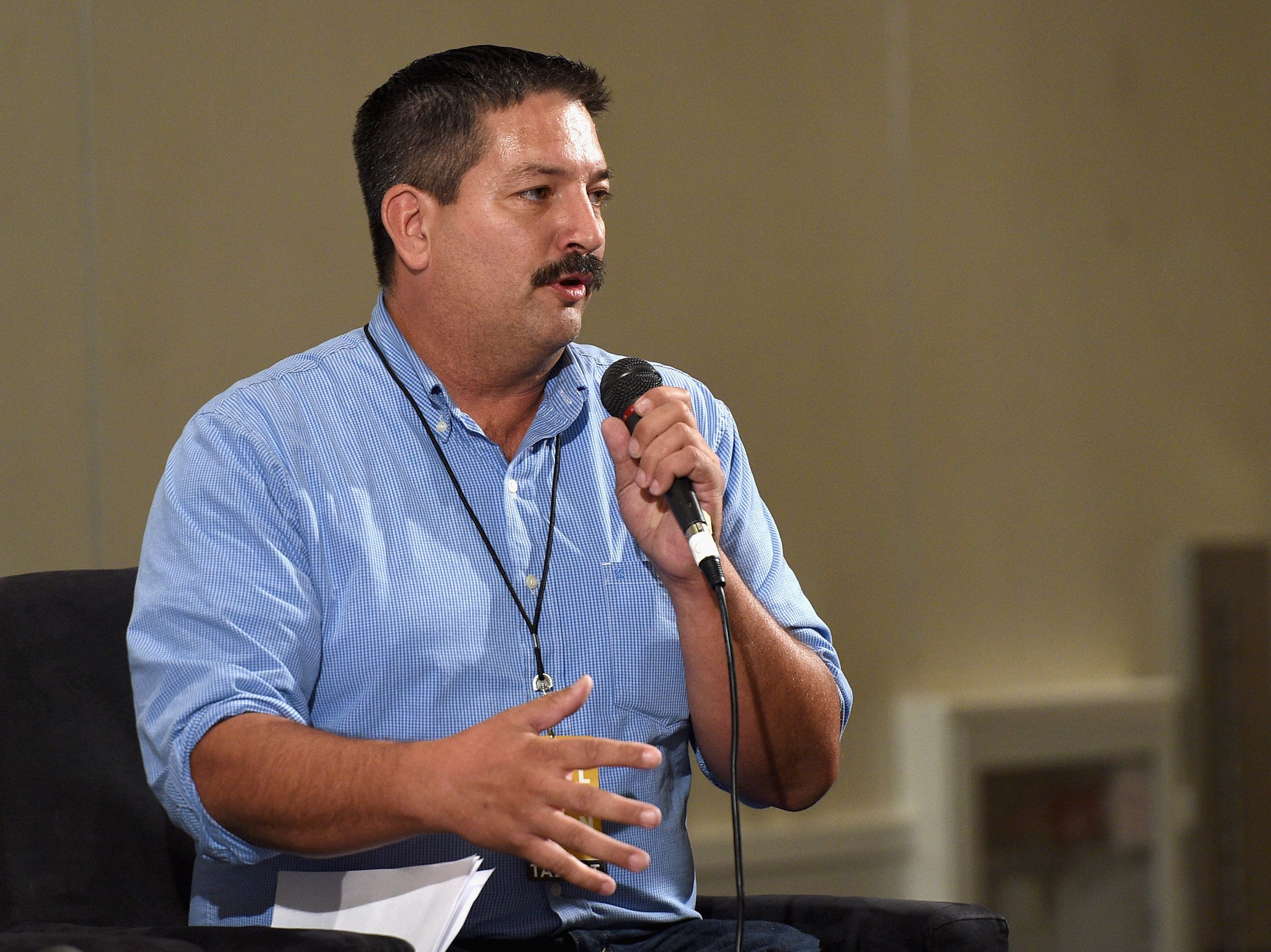 Randy Bryceat apanel on the importance of the Latino vote during Politicon on July 30 in Pasadena, California.