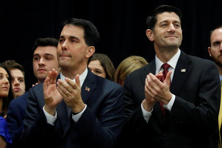"Wisconsin Gov. Scott Walker (R), left, and House Speaker Paul Ryan (R-Wis.) applaud during President Donald Trump's ""thank yo"