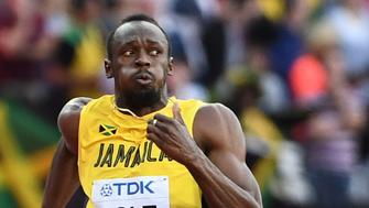 Jamaica's Usain Bolt competes in the semi-finals of the men's 100m athletics event at the 2017 IAAF World Championships at the London Stadium in London on August 5, 2017. / AFP PHOTO / Jewel SAMAD        (Photo credit should read JEWEL SAMAD/AFP/Getty Images)