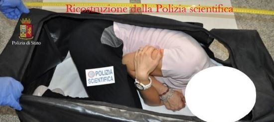 Italian State Police released this photograph on Saturday showing a reenactment of the model's entrapment  in the suitca
