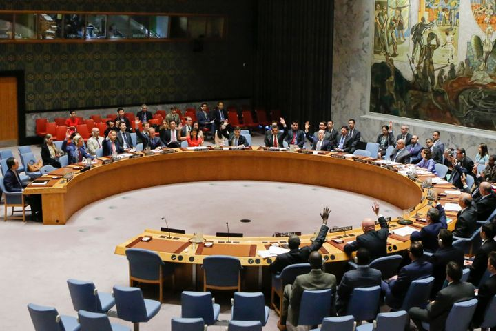 UN Security Council members vote on a US-drafted resolution toughening sanctions on North Korea, at the United Nations Headqu
