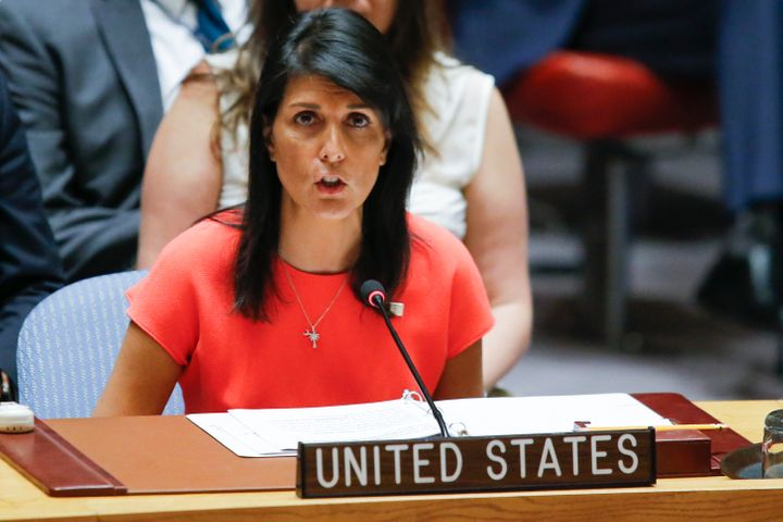 U.S. Ambassador to the United Nations Nikki Haley speaks after voting on a U.S.-drafted resolution toughening sanctions on No