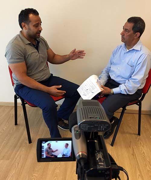 <em>Attaché Basim Ajweh (left) and trainer&#x2F;interviewer Abdulhamid Abdeljaber (Abu-Fadil)</em>