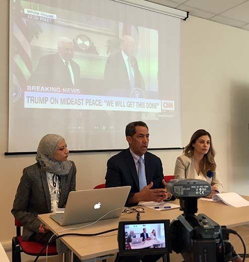 <em>White House news conference simulation with Ghada Arafat, Abdulhamid Abdeljaber and Hanan Jarrar (Abu-Fadil)</em>
