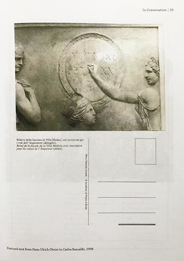 Postcard sent by Hans Ulrich Obrist to Carlos Basualdo, 1998 (VOTI: Union of the Imaginary, page 35)