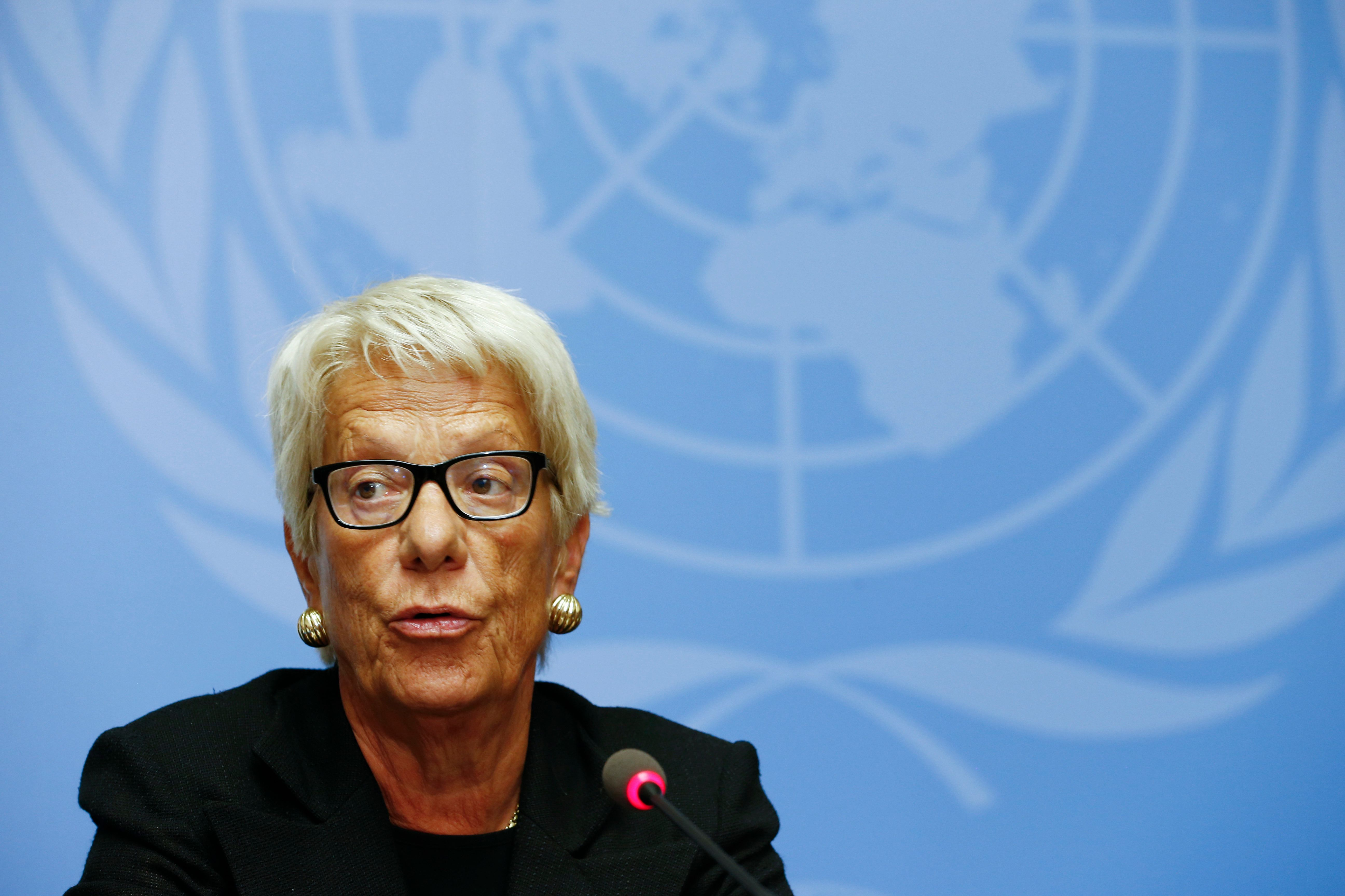 Carla del Ponte addresses the media during a press conference at the U.N. in June