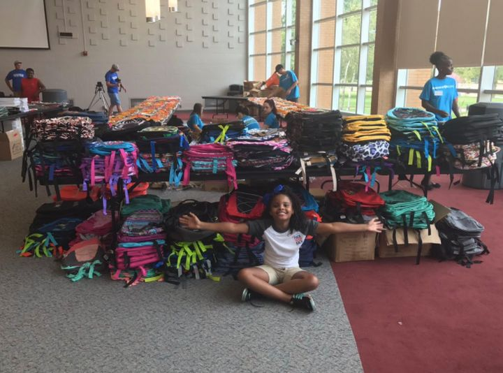 "Amariyanna ""Little Miss Flint"" Copeny volunteers at Mott Community College for the school supply distribution in Flint, Michigan."