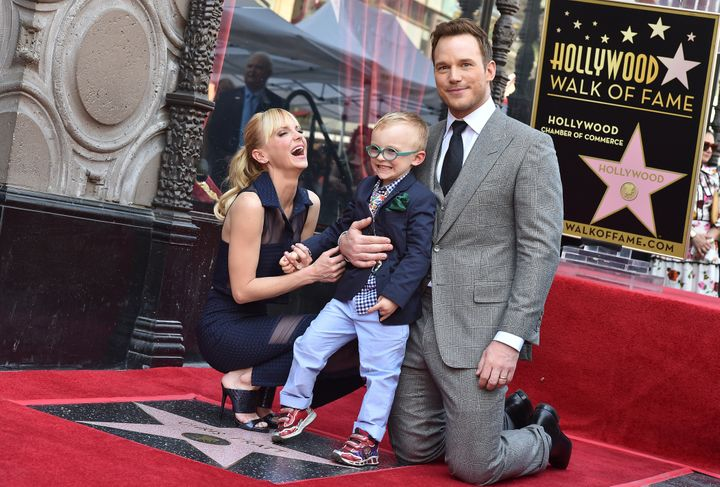 Pratt and Faris with their son Jack at the ceremony honoring Pratt's star on the Hollywood Walk of Fame.