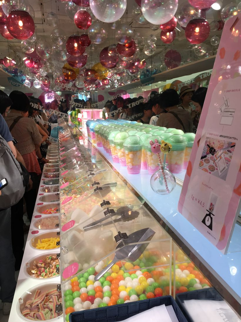 Inside Totti Candy Factory the line snakes around even more tempting sweets.