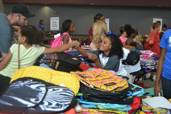 "Amariyanna ""Little Miss Flint"" Copeny volunteers at Mott Community College for the school supply distribution in Flint, Michi"