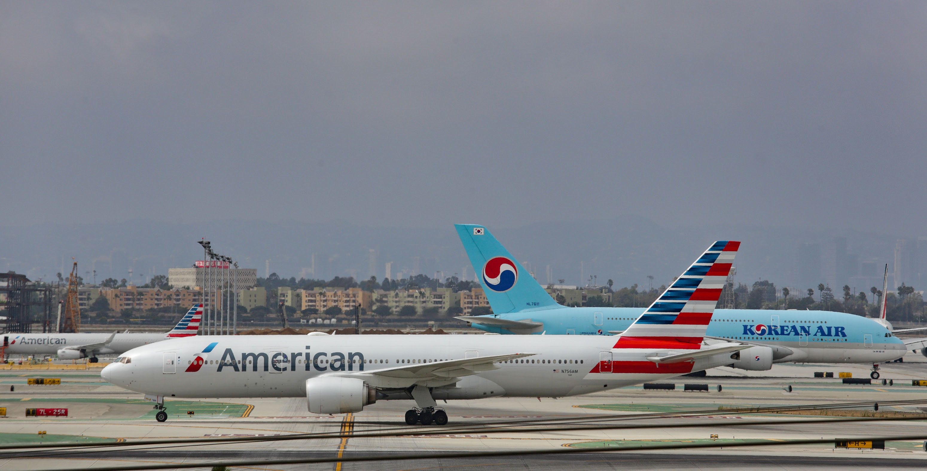 LOS ANGELES, CA - JULY 30: American Airlines Boeing 777 takes off from Los Angeles International Airport on July 30, 2017 in Los Angeles, California.  (Photo by FG/Bauer-Griffin/GC Images)