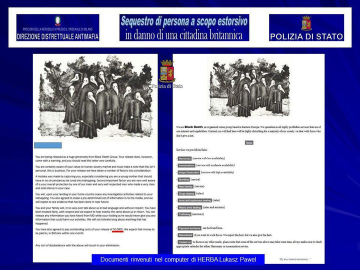 A screenshot of a 'Black Death Group' document on a laptop belonging to Herba