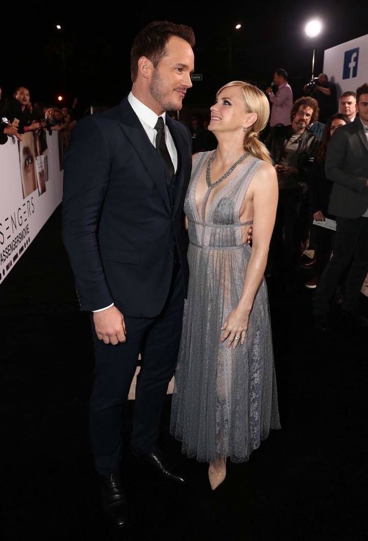 "Chris Pratt and Anna Faris at the ""Passengers"" premiere in 2016."