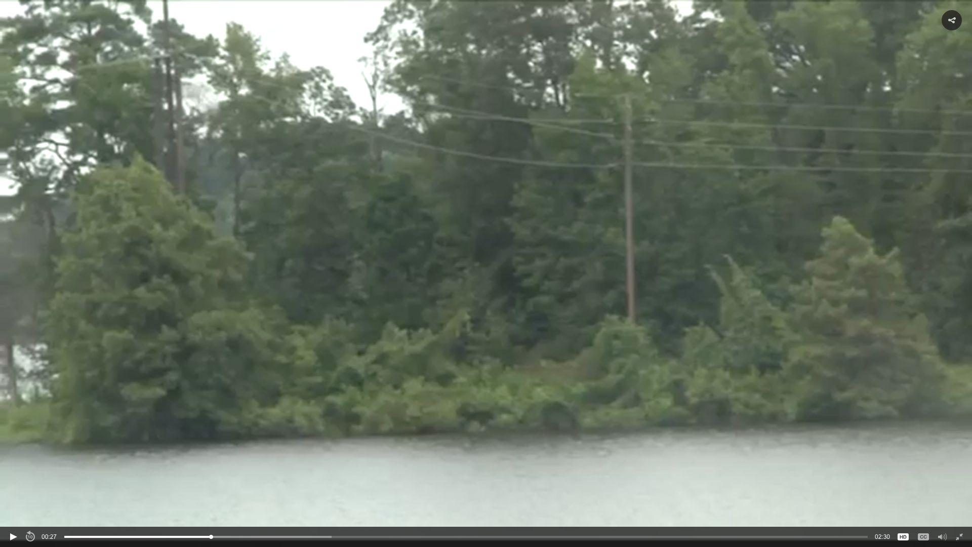 Power lines stretch across an East Texas lake where the three Boy Scouts were sailing.