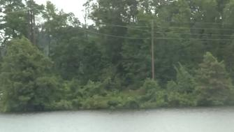 Power lines are seen stretching across an East Texas lake where two Boy Scouts are believed to have been electrocuted
