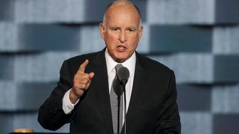 PHILADELPHIA, PA. -- WEDNESDAY, JULY 27, 2016: California Governor Jerry Brown at the 2016 Democratic National Convention, in Philadelphia, Pa., on July 27, 2016. (Photo by Marcus Yam/Los Angeles Times via Getty Images)