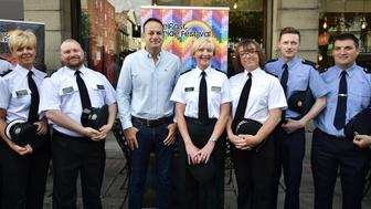 BELFAST, NORTHERN IRELAND - AUGUST 05: Taoiseach Leo Varadkar attends a Belfast Gay Pride breakfast meeting along with assistant Chief Constable Barbara Gray alongside PSNI and Garda officers representative of the gay community on August 5, 2017 in Belfast, Northern Ireland. The Irish Prime Minister is on a two day visit to the province having already met with DUP leader Arlene Foster yesterday. The DUP, Northern Ireland's largest political party have so far blocked attempts to legalise gay marriage. (Photo by Charles McQuillan/Getty Images)