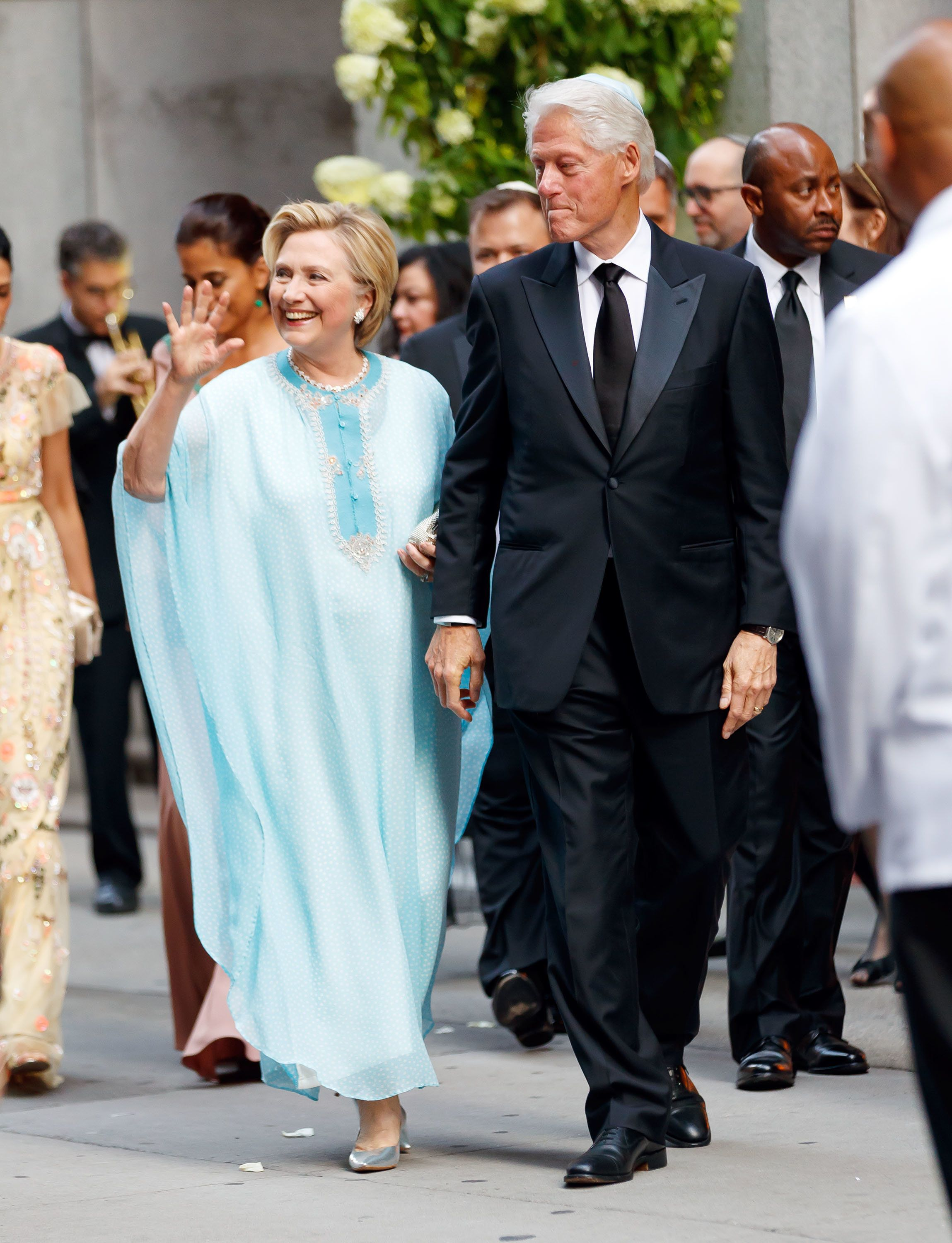 EXCLUSIVE: Hillary Clinton and Bill Clinton arrive at top advisor and financial donor Marc Lasry's daughter Sophie Lasry wedding to football player Alex Swieca in New York.� The star-studded wedding guest list includes Jennifer Lopez and Alex Rodriguez, Tiffany Trump, Jason Kidd,�Michael Strahan, Huma Abedin, and many more.�